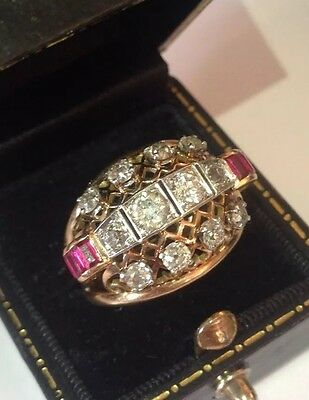 Antique Old Cut Diamond And Ruby Ring 18ct Rose Gold