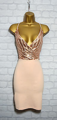 ~AMARIE~ Nude Sequin Plunge V Celeb Bodycon Evening Mini Party Dress 8 10 12 14