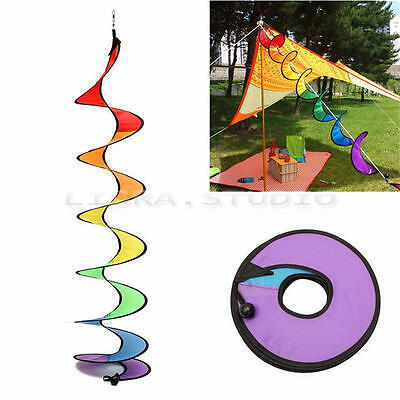 Rainbow Spiral Windmill Colorful Wind Spinner Tent Garden Home Decorations110cm