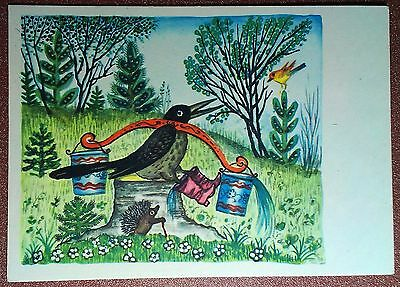Vintage russian folk postcard 1969 Blackbird Bird Boots Hedgehog. By Vasnetsov