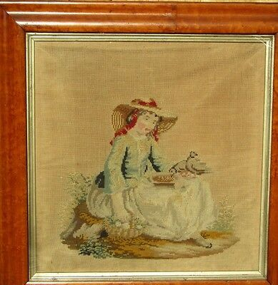 Antique Framed Completed Tapestry Young Girl feeding Doves
