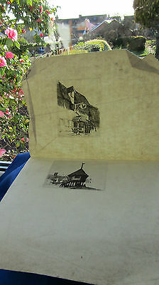 Antique Prints on Date lined Laid Paper Very Old 18th century? huts tavern house