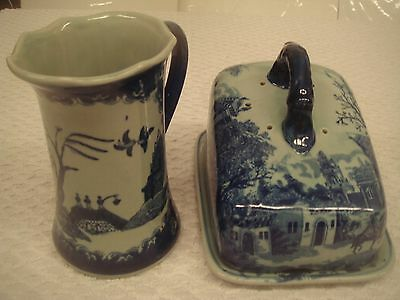 Blue and White Ceramic Lidded cheese dish and jug