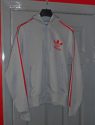 Mens Grey  Adidas Hooded  Tracksuit Top - Size M