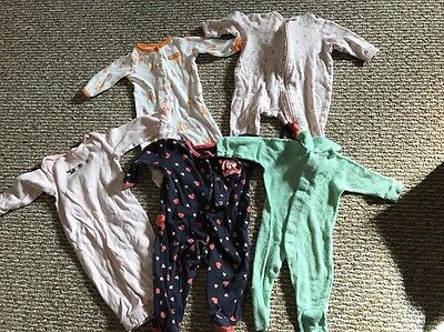 Infant Girls Sleepers, Lot, Carters, 3 Months, Pajamas