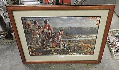 Vintage Robert Griffing Unconquered Lithograph Framed Print Overlooking Ft. Pitt