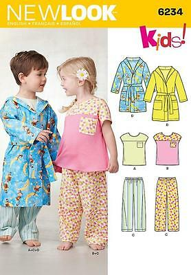 NEW LOOK  Sewing Pattern Girls Boys Childs Pjs Top+Pants+ Hooded Robe~6234