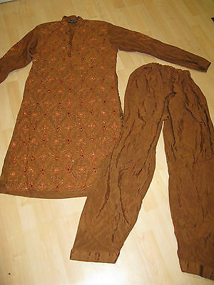 Indian dubatta Asian salwar outfit dress trousers kameez embroidered brown M 40