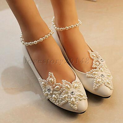 White lace Wedding shoes pearls ankle trap Bridal flats low high heels size 5-10