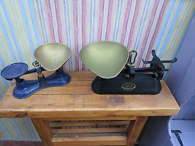 2 Sets Of Vintage Weighing Scales And Brass Pan. No Weights