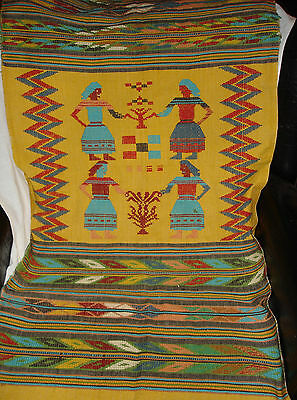 Handwoven Wall Tapestry Peruvian Aztec Incan Egyptian Design Table Runner Cover