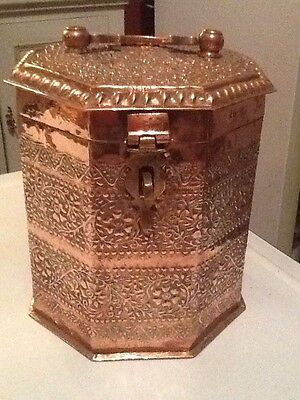 Antique C19th Ottoman Islamic Copper Hexagonal Large Spice Repousse Box