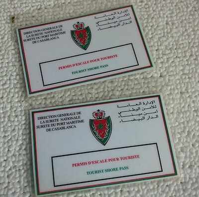 Two tourist shore passes for Casablanca from 2003