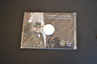 Royal Mint £20 coin solid fine silver 2015 Sir Winston Churchill new and sealed