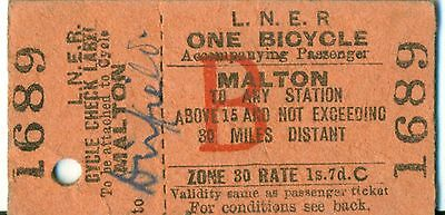 LNER Bicycle Ticket Malton To Driffield Dated 30th October 1943