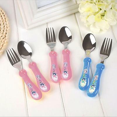 Cartoon Stainless Stee Spoon and Fork Cutlery Set For Infants/toddlers/Baby T