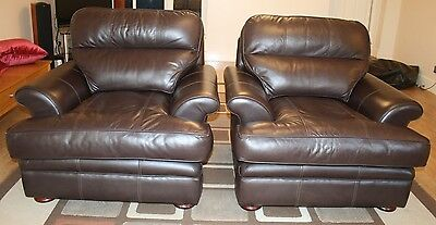 Matching pair of DFS Single Sofa Brown Leather armchairs