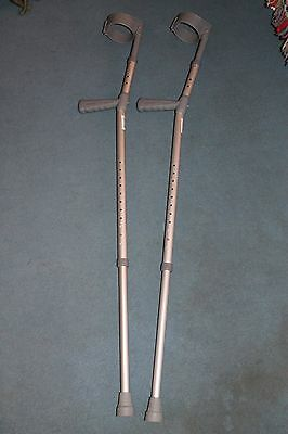 Brand New Pair of Elbow Crutches, Adult Size with Adjustable Height & PVC Handle