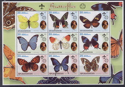 Afghanistan 2 Sheets Butterflies Baden Powell Papillons Scouts Mariposas Insects