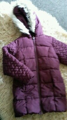 Girls burgundy quilted jacket age 4-5 yrs from george.
