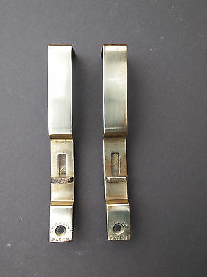 "Pair of antique 4"" stamped brass PATENT flush sliding door bolts (ref. B4a)"