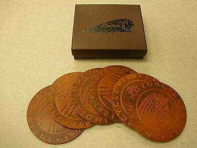 Indian Motorcycle Leather Coasters (2863685) - Set of 6 NEW