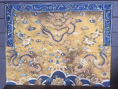 Rare IMPERIAL COURT  Chinese Gold Silk Robe 4 Claw Dragon Embroidery Rank Badge