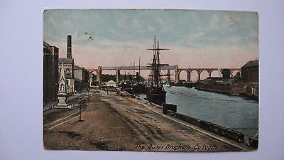 Old Vintage Postcard The Quays Drogheda Co. Louth Ireland Irish Harbour