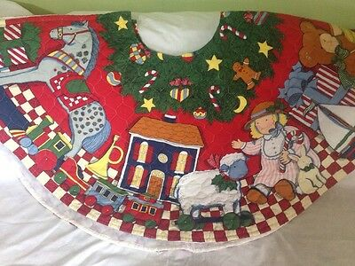 SUSAN WINGET 1994 CHRISTMAS TREE SKIRT PRE-QUILTED FABRIC PANELS, has been made