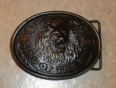 Union 76 Truck Stops KING Of THE ROAD Brass Lion Belt Buckle