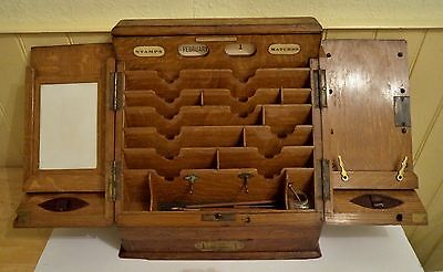 Victorian desk top oak writing cabinet stationery work box. Parkins & Gotto