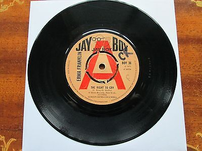 """The Right To Cry - Erma Franklin - Northern Soul - Jay Boy Promo? - 7"""" Vinyl Vgc"""