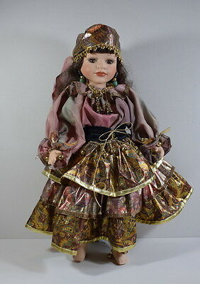 """Beautiful Porcelain Gypsy Doll From The Leonardo Collection With Stand. 17 """""""