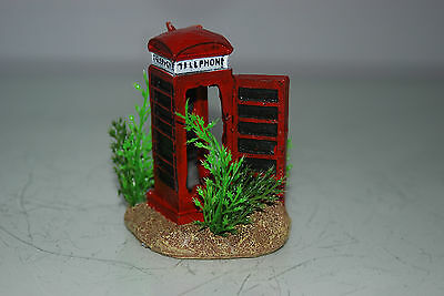 Aquarium Small Old London Telephone Box & Plants 7 x 5 x 8 cms For All Aquariums