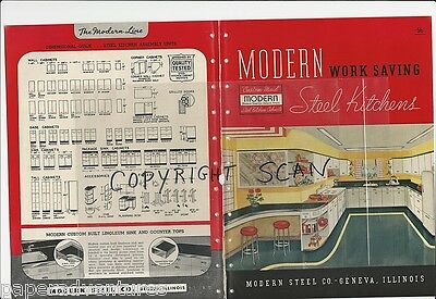 1946 MODERN Steel KITCHENS Cabinet Units Vintage RUSSEL WRIGHT Cups foto Catalog