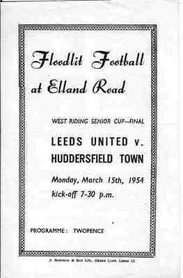 Leeds United v Huddersfield Town 15/03/1954 Programme for West Riding SC Final