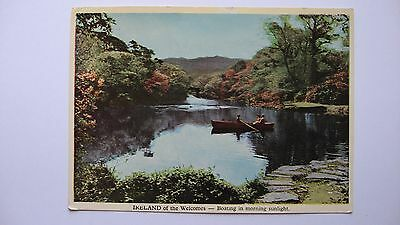Old Vintage Postcard Ireland of the Welcomes - Boating in morning sunlight Irish