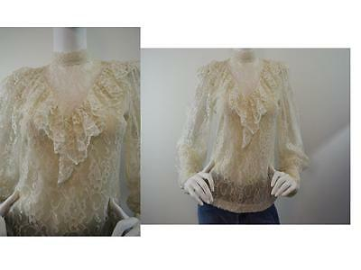 Vtg 80s 90s Prairie Blouse Top Ruffle Floral Lace Victorian Boho Off White XS/S