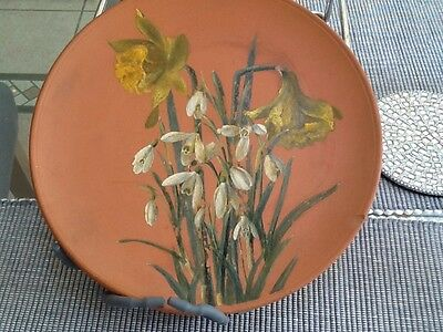"""Victorian Torquay Watcombe 8"""" Terracotta Plate Hand Painted in Oils signed J. H."""