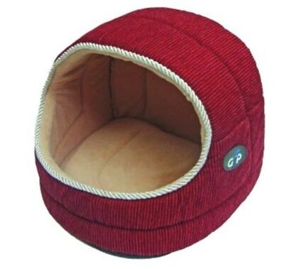 Hooded Red Luxury warm and cosy Pet Snuggle bed Cats Rabbit Dogs ALL SIZES