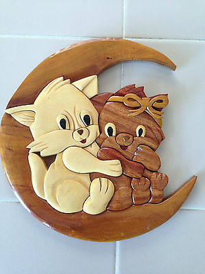 Hand Crafted Wooden Wall Plaque/cats/kittens/too Cute!