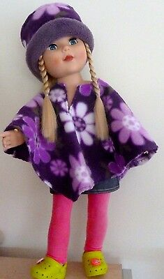 18 inch american type girl doll fleece poncho and matching hat
