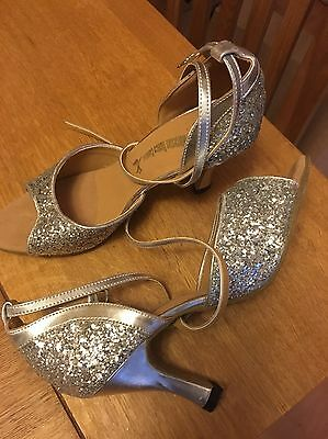 Strictly Ballroom Silver Glitter Dancing Shoes