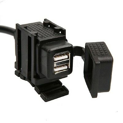 Waterproof Motorcycle 5v 2x USB Charger Power Outlet Socket Fit Honda Suzuki etc