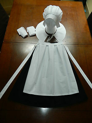 Girls Medieval Puritan, Pilgrim, Amish, Coif Bonnet, 5 Piece Costume, Outfit