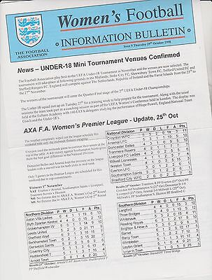Rare Vintage Official Womens Football Bulletin 1998.. Issue 9.. Exc.clean Cond.