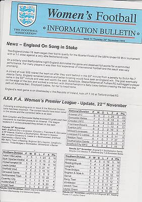 Rare Vintage Official Womens Football Bulletin 1998. Issue 13.. Exc.clean Cond.