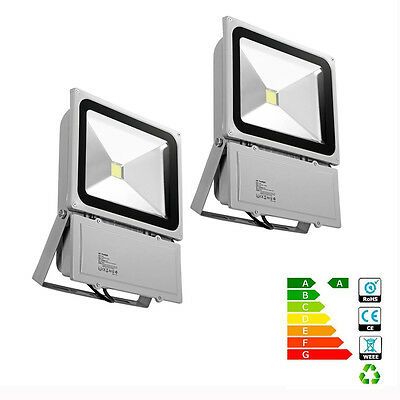 2x 100W LED Floodlight Cool White 6000-6500K Outdoor Security Flood Light IP65