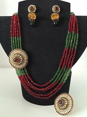 Bollywood Style/ Indian Jewellery/Party Wear/ Red, Green Bead Set And Ring