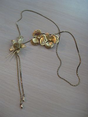Estate Costume Flower Necklace & Clip Earrings Set Gold Tone